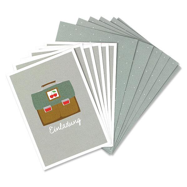 Einladungskarten-Set, Schulranzen Kirsche