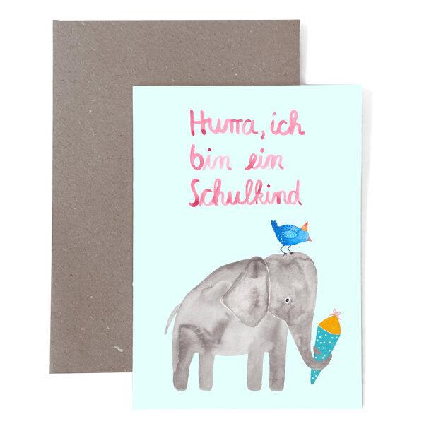 """Karte zur Einschulung """"Elefant"""""""